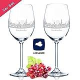Leonardo Copa de vino con grabado – Skyline Saarbrücken en Set – Regalo para los amantes del vino – Souvenir recuerdo Ciudad regalo de cumpleaños regalo de Navidad