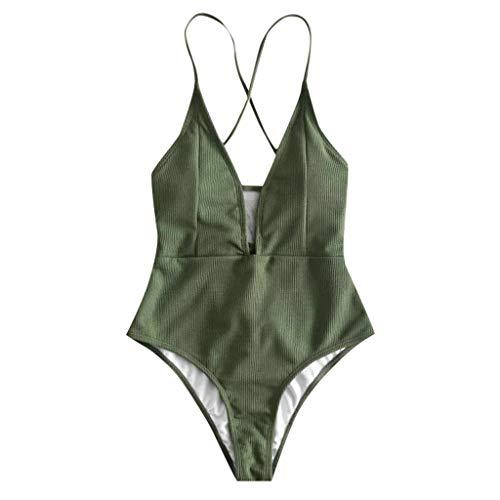 Reooly Traje de baño de una sola pieza para mujer, estilo retro, sólido Verde Ejercito Verde M