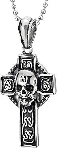 LBBYMX Co.,ltd Collar de Moda gótico cráneo círculo Cruz Colgante Collar Tatuaje Tribal gráfico Hip Hop clásico Personalidad Encanto Collar