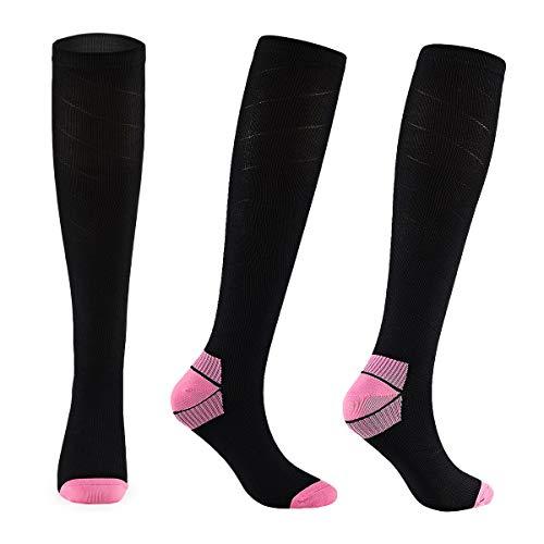FALARY Kompressionsstrümpfe für Herren und Damen Kompressionssocken Stützstrümpfe Compression Socks Schwarz & Rosa 39-42