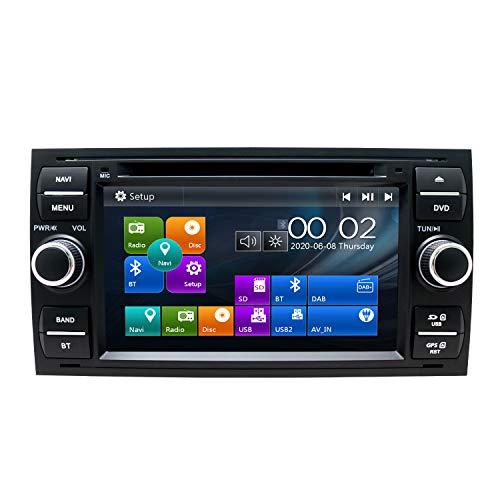 SWTNVIN Radio estéreo para Coche Compatible con Ford Focus Fusion Transit Fiesta Galaxy 7 Pulgadas GPS Navigator Doble DIN Unidad de Cabezal Soporte USB Video Bluetooth SWC DVD Player (Negro 06)