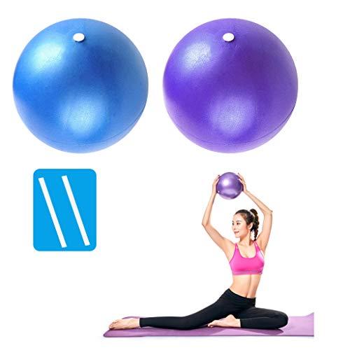 PROVO Yoga Pilates Palla da Esercizio Mini, Fitness Ball per Lo Yoga 23 cm Palla Pilates Piccola per Esercizi Addominali e Spalla Esercizi di Riabilitazione Core con Cannuccia Gonfiabile, Blu e Viola