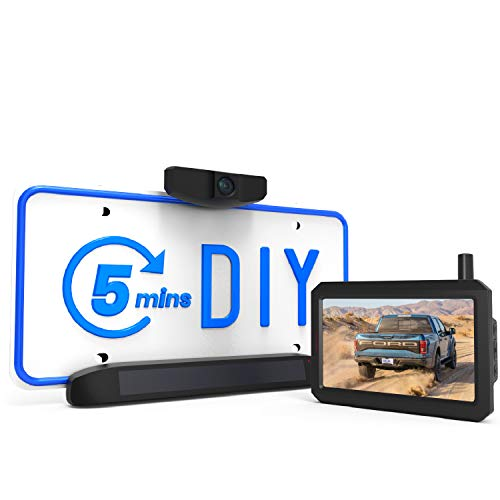 AUTOVOX Solar Wireless Backup Camera 5 Mins DIY Installation 5 Inch HD Monitor with Digital Wireless Signal and HD Image Waterproof Rear View Camera for CarSUV