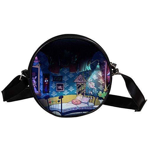 Bennigiry Alice im Wunderland Runde Umhängetasche, Clutch, Handtasche für Teenager, Mädchen und Frauen