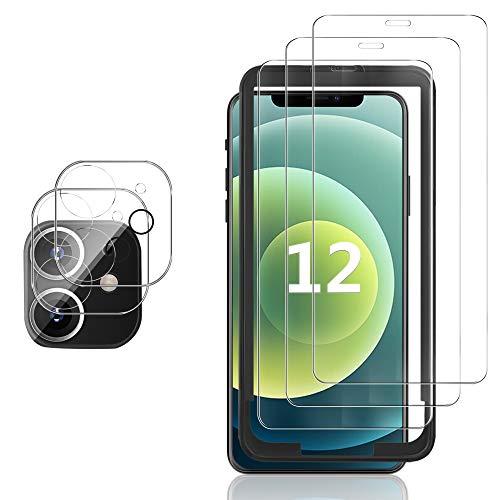 GESMA 3 Piezas Protector de Pantalla Compatible con iPhone 12, 2 Piezas Protector Lente Cámara, Cristal Templado, HD Anti-arañazos, Marco de Posicionamiento