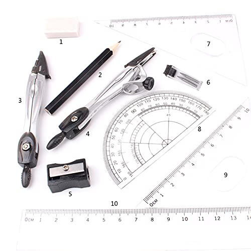 Juego de brújula de geometría de 10 piezas, juego de brújula de dibujo y transportador con lápiz, sacapuntas, borrador/reglas, con funda de transporte, para estudiantes matemáticas e ingeniería.