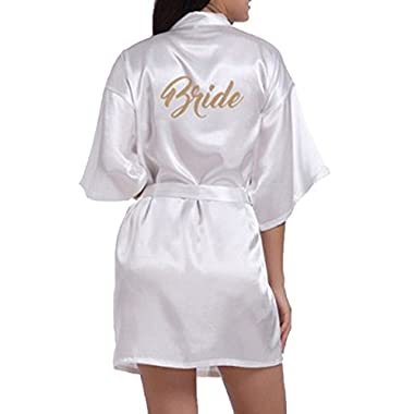 WPFING Bride Robes White Bridal Party Robes Wedding Bride Robe Glitter Customized(Bride White,XXL)