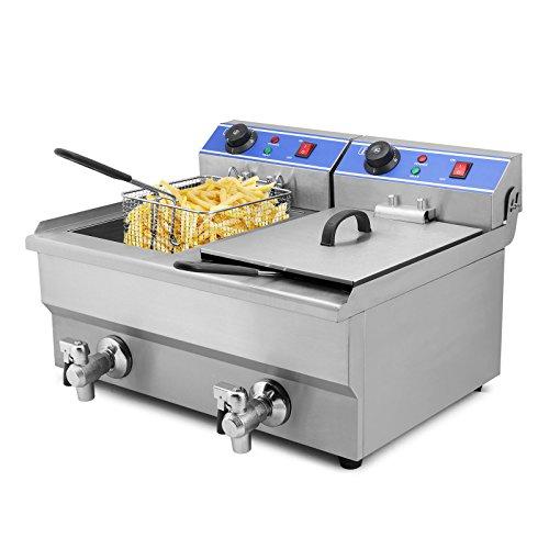 Autocompra Freidora Eléctrica 20L 5000W Freidora Industrial Acero Inoxidable para Patatas Fritas Deep Fryer Commercial Con Grifo (10L + 10L Tanque con Grifo )
