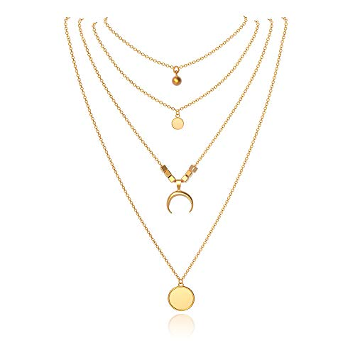 Joeyan Damen Mehrschichtige Halskette Mond Münze Perle Gold