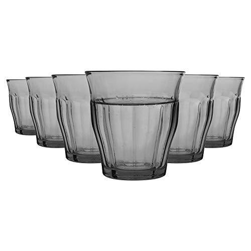 Duralex 6 Piezas de Picardie Beber Vaso Vasos, Decorado con - Templado Vasos de Cristal de Agua, Jugo, Whisky - Gris - 250ml