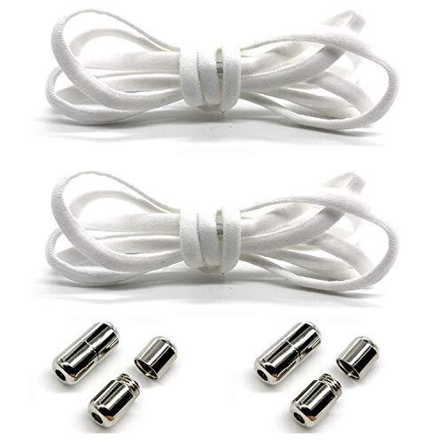SpringPear® 2 pary białych elastycznych sznurowadeł z systemem szybkiego sznurowania, 100 cm, odporne na rozerwanie, taśma na buty z poliestru z metalowym zapięciem do butów