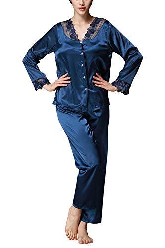 Weimilon Dormir Set Elegantes Pijamas Largos De Las Mujeres Pijama con Estilo único De Raso Establecidos con Traje Pijama De Encaje Y Escote V Ocio De Seda Inicio Moda Pijamas Cómodos