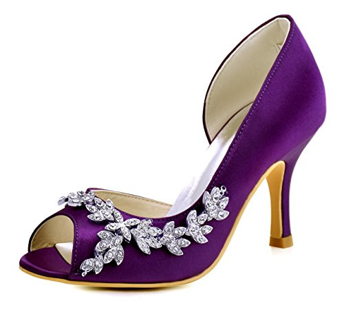 ElegantPark HP1542 Purple Heels for Women Peep Toe Bridal Wedding Shoes for Bride Bridesmaid High Heel Pumps Rhinestones Satin Evening Party Dress Shoes US 8