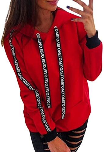 Women Pullover Plus Size Shirt Long Sleeve Solid Color Sweatshirt Tops Hoodie,Red,4X-Large