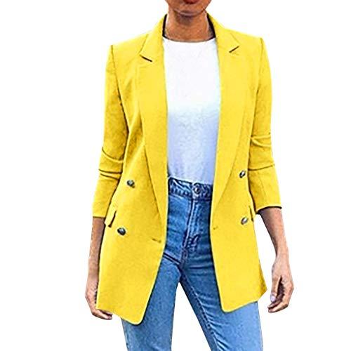 Nyuiuo Mantel Damen in Multi Farbe Damen Blazer Brown Damen Langer Blazer mit Vier Knöpfen Solide Umlegekragen Jacke Solide Umlegekragen Jacke Langarm Mantel Parka Oberbekleidung