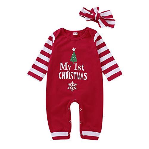 Carolilly Natale Pagliaccetto Neonata Bambina Invernale Divertente Vestito Abiti da Festa di Natale+Fascia