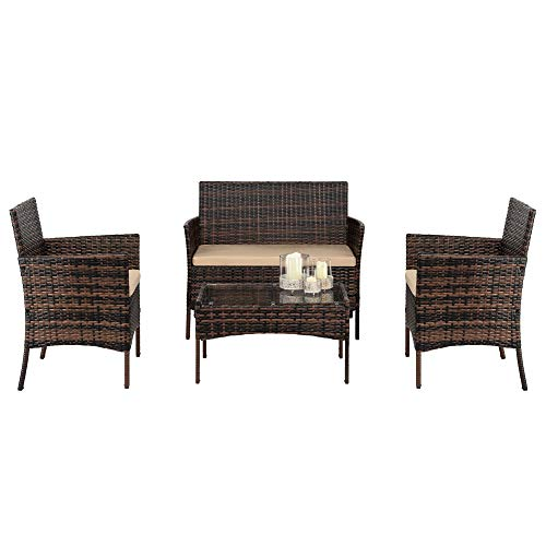 DAYSAIRY Rattan Garden Furniture Set 4 piece Outdoor Set Wicker Patio Rattan furniture sofa