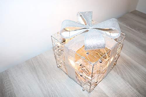 Jandei - Luz Decorativa De Navidad Varias Formas con Baterías Cajita Regalo Alambre Dorado 30cm 20 Led Lenteja 3000K 3X Pilas AA