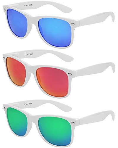 X-CRUZE - Pack de 3 gafas de sol nerd retro vintage unisex hombre mujer gafas nerd - Set M - Blanco