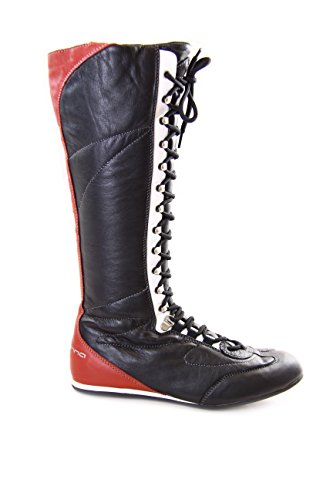 Fornarina Vintage Leather High Boots with Strings and Zipper PIFLI3743WC (37, Black)