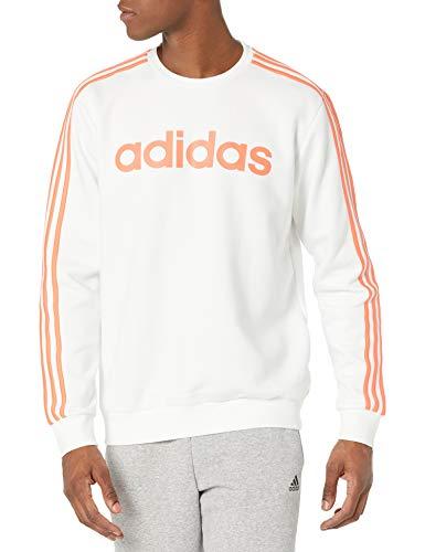 adidas Essentials - Sudadera de 3 rayas para hombre - FSG36, Essentials - Sudadera con 3 rayas, L, Color blanco y naranja.