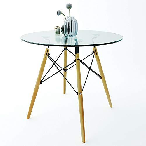 Tavolino in Vetro Tondo Tavolo da Caffè Rotondo Salotto Soggiorno Ufficio Ingresso,Vetro Temperato Luxury Nosara, Gambe in Bamboo, Design Curvo Moderno Minimal Elegante, Trasparente 90 x 90 x 72 cm