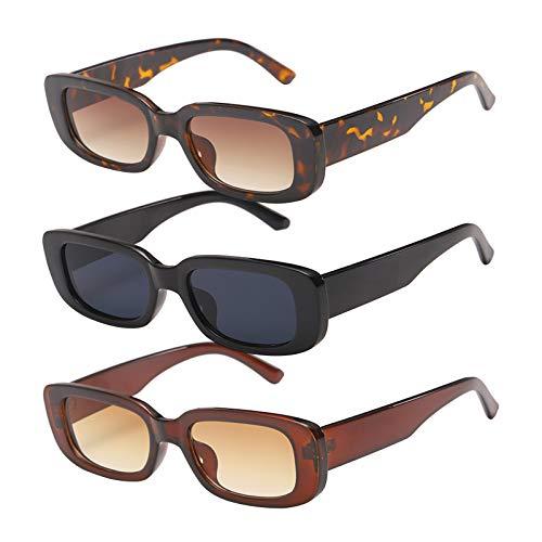 Lidiper 3 Piezas Gafas de sol Rectangulares, Protección UV400 Gafas de Conducción Retro Gafas Rectangulares Moda Gafas Pequeñas para Mujer