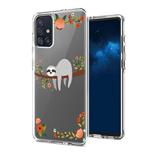 Case for Samsung Galaxy A51 4G/5G, Shockproof Clear Dual Layer Hybrid Protection Hard PC Bumper & Soft TPU Shell Cover Protective Phone Case for Samsung A51 Women and Men, Flower Sloth