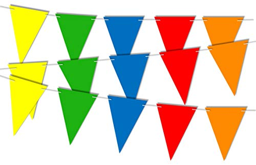 RPP 20 Pieces Bright Rainbow Multicolour Triangle Flags Gay Pride Garland Bunting Banner for Party Birthday Festival Decoration with 10m string