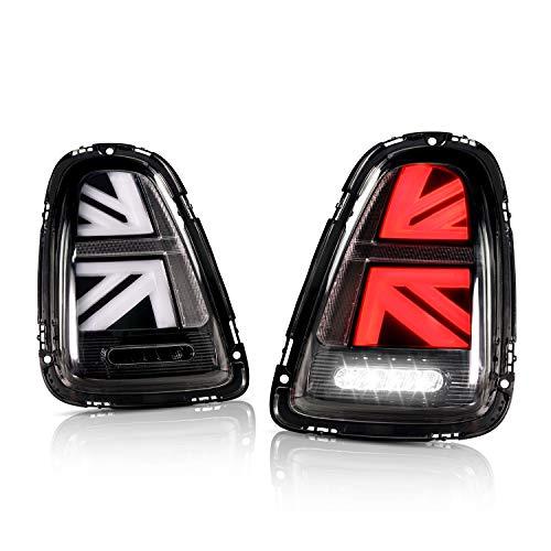 Volledige LED Achterlicht Montage voor Mi-ni Coo-per Hatchback One Hatch R55 R56 [2007-2010] Union Jack Tail Light, Staart Lamp Plug and Play installatie (Zwart)