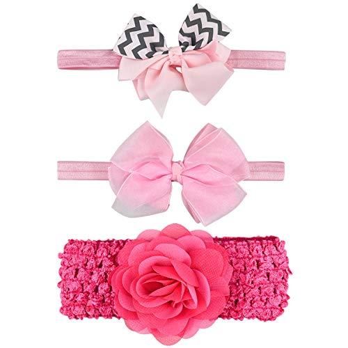 Baby Stirnbänder Mädchen Neugeborenen, 3 Stück Süße Weich Haarband Kopfband mit Elastisches Band Bogen Blumen Blüte Babyschmuck Headwear für 0-24 Monaten Babygeschenke Taufe