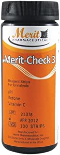 Merit-Check 3, Reagent Strips for Urinalysis: Vitamin C, pH and Ketone