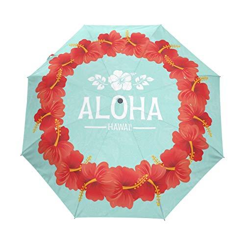FANTAZIO drievoudige reis paraplu Hawaiian Aloha slinger ontwerp auto open paraplu
