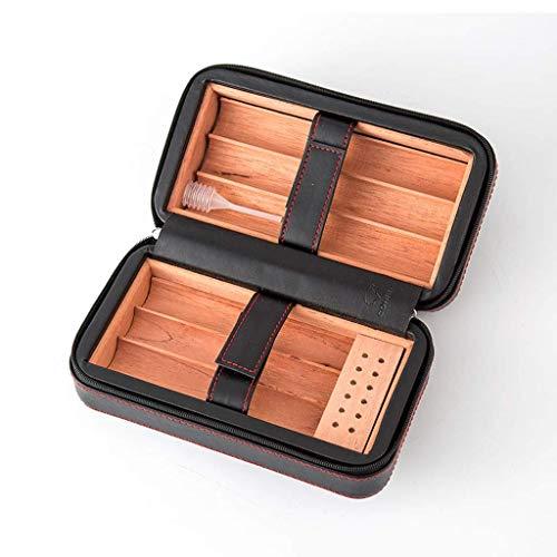 CLJ-LJ Caja de regalo del cigarro Humidorswith humidificador de madera del cedro de piel con refuerzo de superficie de cigarrillos caso del recorrido de los hombres portátil de madera sólida caja de t
