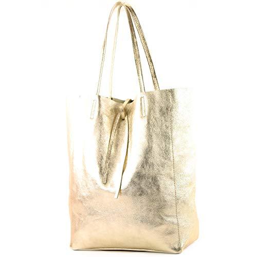 modamoda de - T163 - Ital. Shopper mit Innentasche aus Leder, Farbe:Gold-Metallic