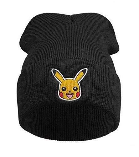 KIRALOVE Bonnet d'hiver pour Enfants et Unisexe - Taille Unique - Noir Pokemon Pikachu