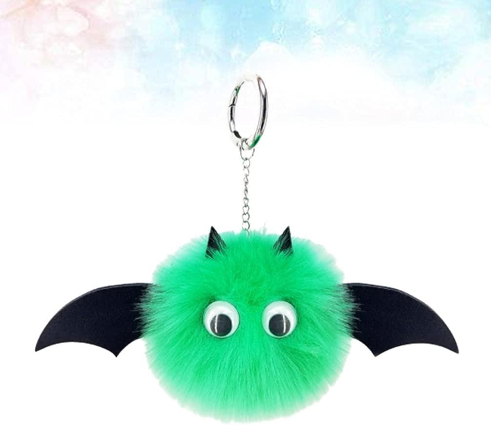 Generic Pom Pom Keychain Bat Monster PU Leather Fluffy Key Ring Women Girls for Bag Cellphone Car Charm Accessories, green