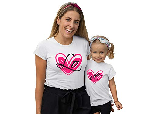 LO VE Mom Daughter Matching t-Shirts, Mother Daughter Outfits, Gifts for Mom for Mother's Day (L & 5years T-Shirt) White