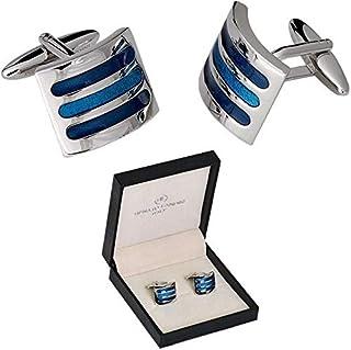 RENATO LANDINI Blue & Chrome Cufflinks