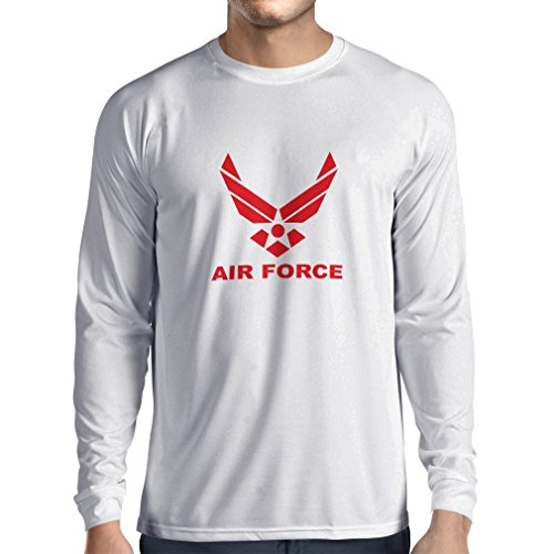 lepni.me Camiseta de Manga Larga para Hombre United States Air Force (USAF) - U. S. Army, USA Armed Forces (Small Blanco Rojo)