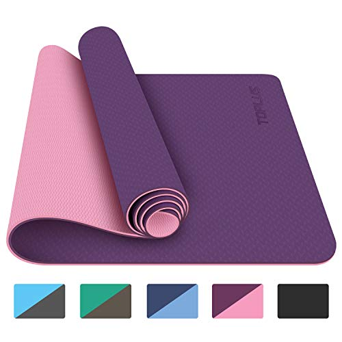 "TOPLUS Yoga Mat - Pro Yoga Mat Eco Friendly Non Slip Fitness Exercise Mat with Carrying Strap-Workout Mat for Yoga, Pilates and Floor Exercises Thickness 1/4"" Purple"