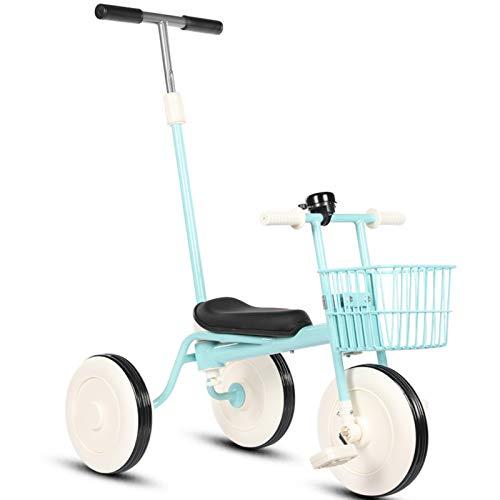 YWJPJ. 2 in1 Baby Classic Kids Triciclens, Bicicleta de Balance de 3 Ruedas con Canasta, Pedal removible y Barra de Empuje para Padres, para 1-4 años Trike,Azul