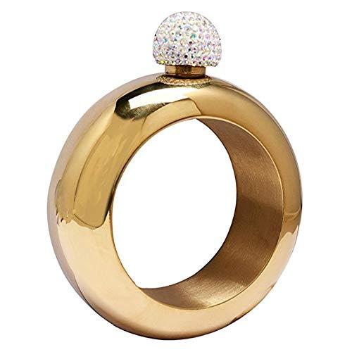Petacas De Alcohol UPORS Nueva 3.5 OZ pulsera de acero inoxidable frasco con tapa de cristal hecha a mano creativa pulsera alcohol whisky Frasco dama de regalo Petacas (Color : Gold)