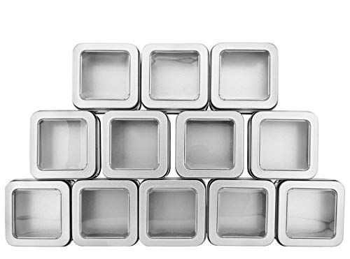 Square Silver Metal Tins w/View Window (12-Pack); Empty 1/2 Cup / 4-Ounce Capacity Clear Top Metal Boxes Great for Candles, Candies, Gifts, Balms & Treasures