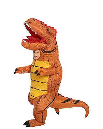 Disfraz de dinosaurio inflable T-Rex para adultos, disfraz de Halloween (marrón mediano)