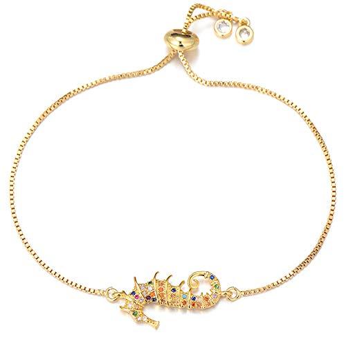 CHEMOXING Pipitree Mode Zirkonia Hippocampus Charm Armband für Frauen Slider Chain Seepferdchen Armband Armreif Trendy Schmuck Geschenk-Gold