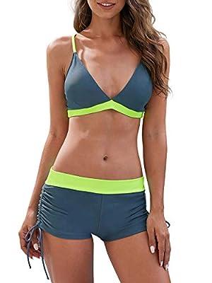 Century Star Women Swimsuit Halter Criss Cross Top with Boyshort Bikini Set Two Piece Bathing Suit Swimwear A Fluorescence Large (fits Like US 8-10)