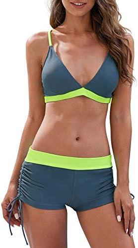 Century Star Women Swimsuit Halter Criss Cross Top with Boyshort Bikini Set Two Piece Bathing product image