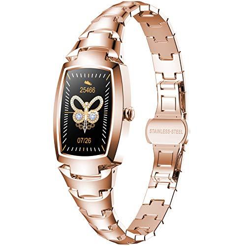 Reloj inteligente mejorado y exquisito, monitor de fitness con pantalla táctil completa con presión arterial/frecuencia cardíaca/monitor de sueño para mujeres, oro