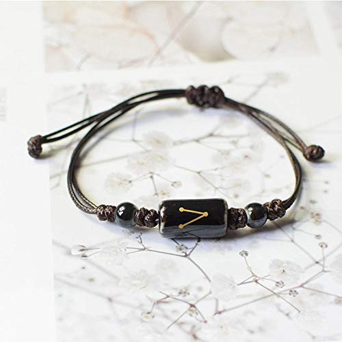Armband sieraden 12 Sterrenbeeld Sterrenbeeld Armband Horoscoop Astrologie Keramiek Armbanden Vrouwen Mannen Relatie Armband String Polsband Steenbok